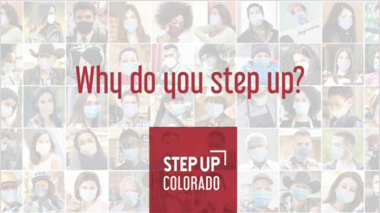 step up logo with background full of headshots of people wearing masks.