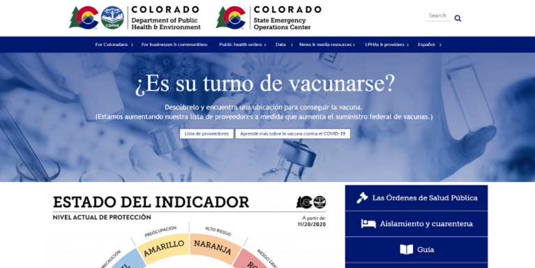 Screen capture of CDPHE's Spanish homepage